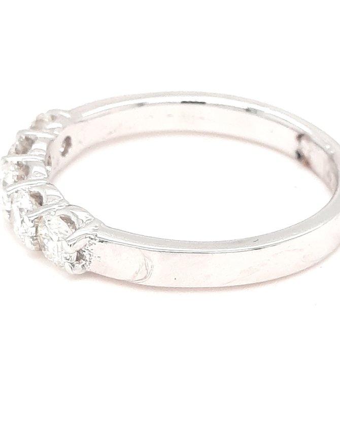 Diamond (0.73ctw) 5 stone band ring 14k white gold