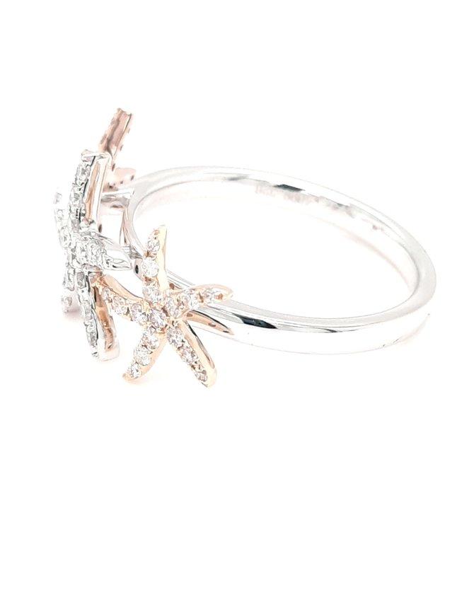 Diamond (0.41ctw) 3 starfish ring 14k white/rose/yellow gold