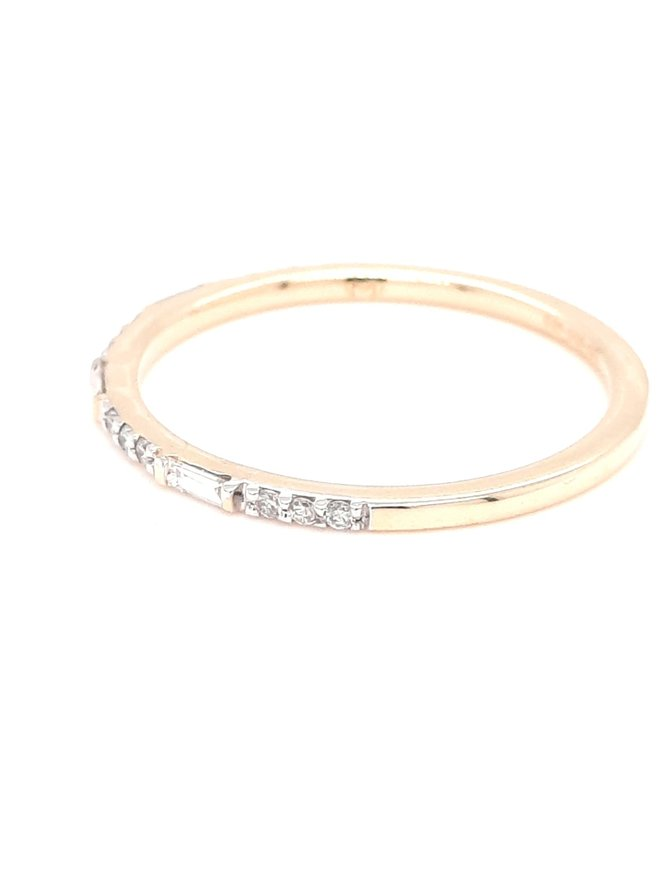 Diamond (0.15ctw) baguette/round stackable band 14k yellow gold