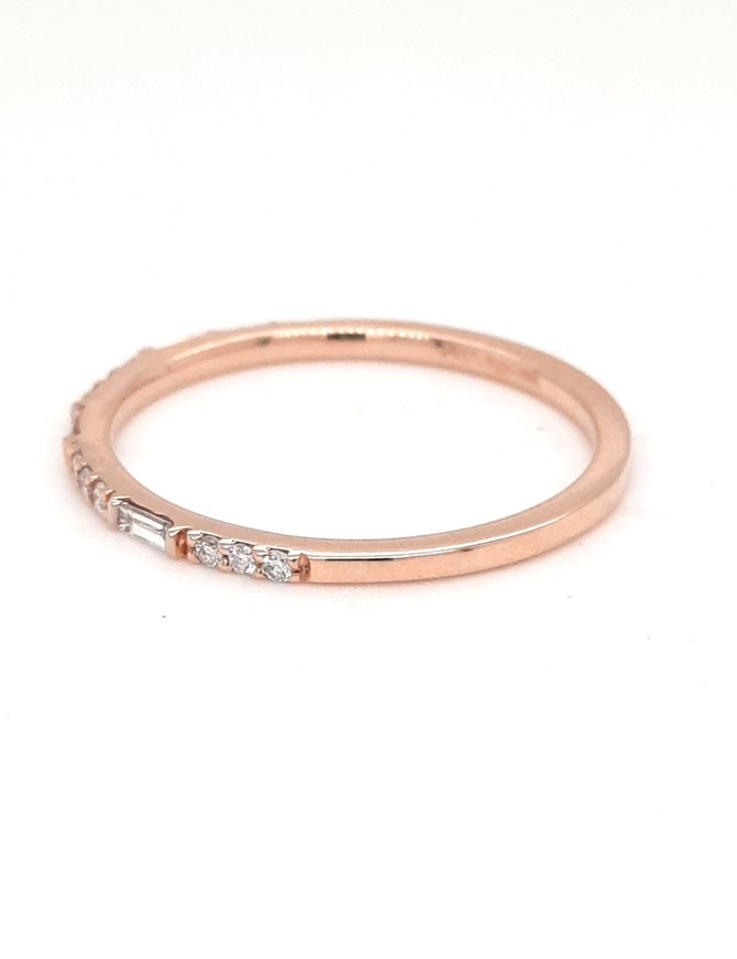 Diamond (0.15ctw) baguette/round stackable band 14k rose gold