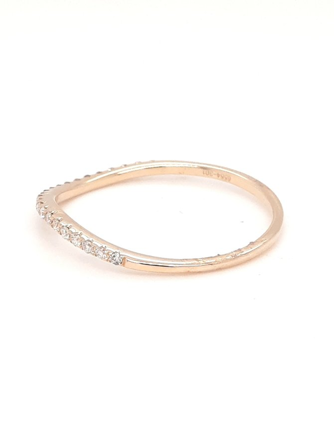 Diamond (0.12ctw) wavy stackable band 14k yellow gold