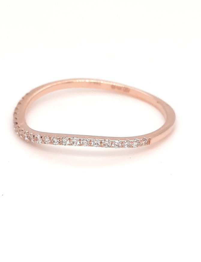 Diamond (0.12ctw) wavy stackable band 14k rose gold