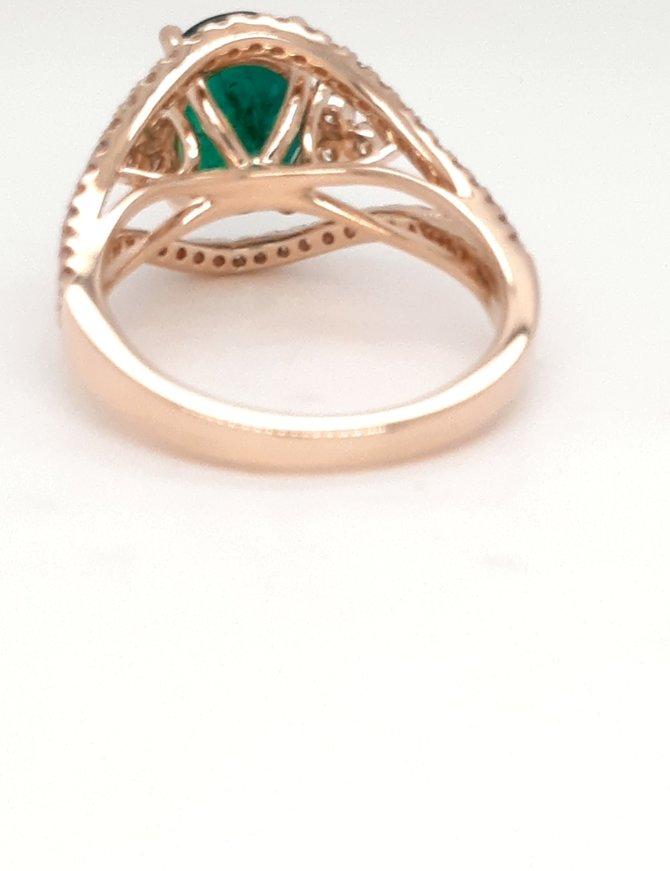 Emerald(2.38ct) diamond(0.62ctw) oval halo ring 14k yellow gold