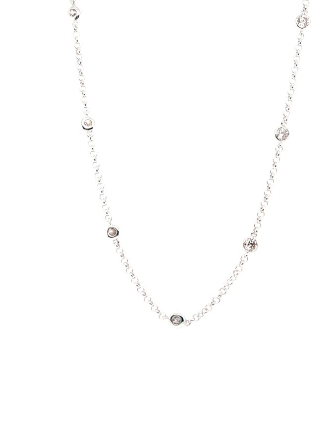 Diamond (1.46ctw) by yard necklace, 14k white gold
