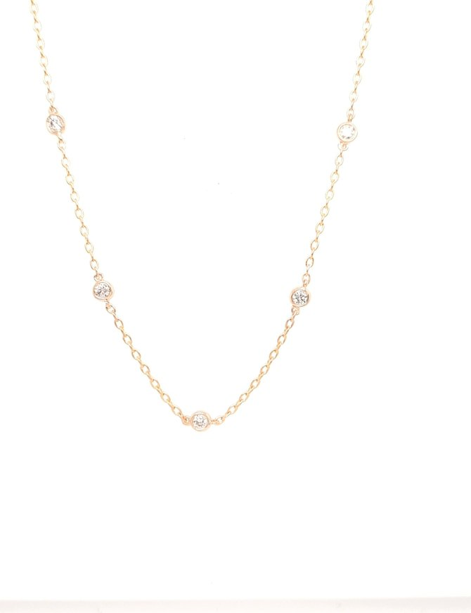Diamond (0.90ctw) by yard necklace 14k yellow gold