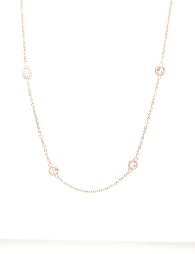 Diamond (0.72ctw) by yard necklace, 14k rose gold