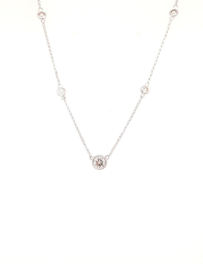 Diamond (0.48ctw) by yard necklace, 14k white gold