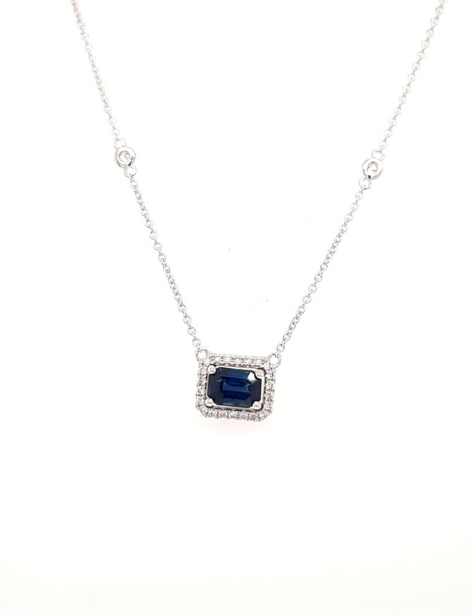 Sapphire (0.89ct) & diamond (0.24ctw) necklace with station chain 14k white gold