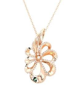Diamond (0.99ctw) fancy ribbon style pendant 14k yellow gold