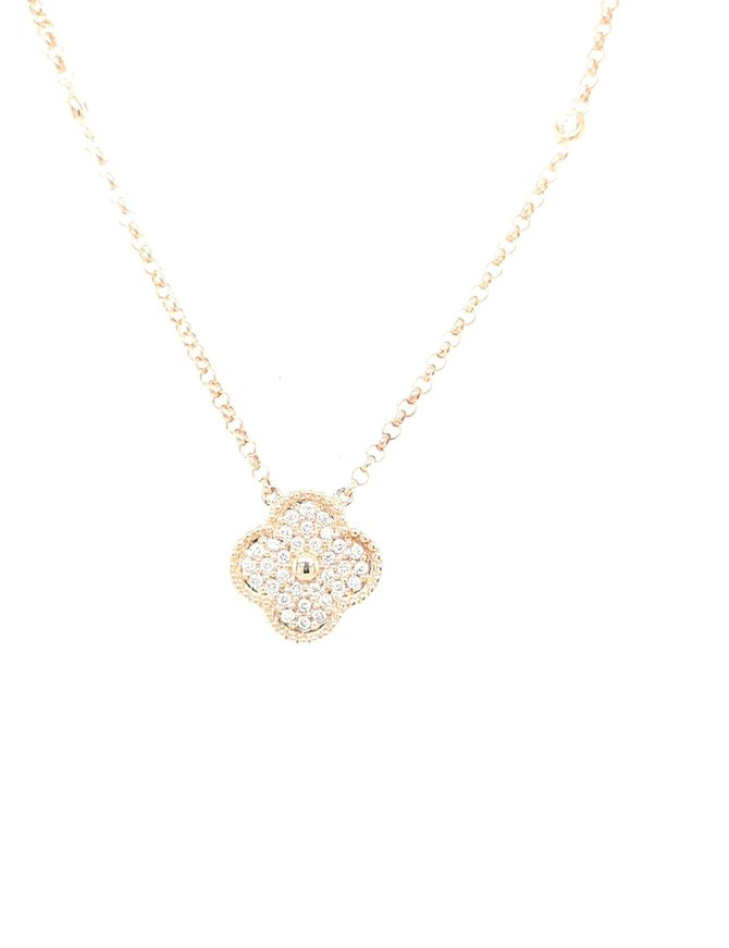Diamond (0.30ctw) floral necklace 14k yellow gold