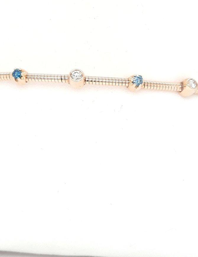 Blue & white diamond (0.17 ctw)  flexible bangle 14k yellow gold