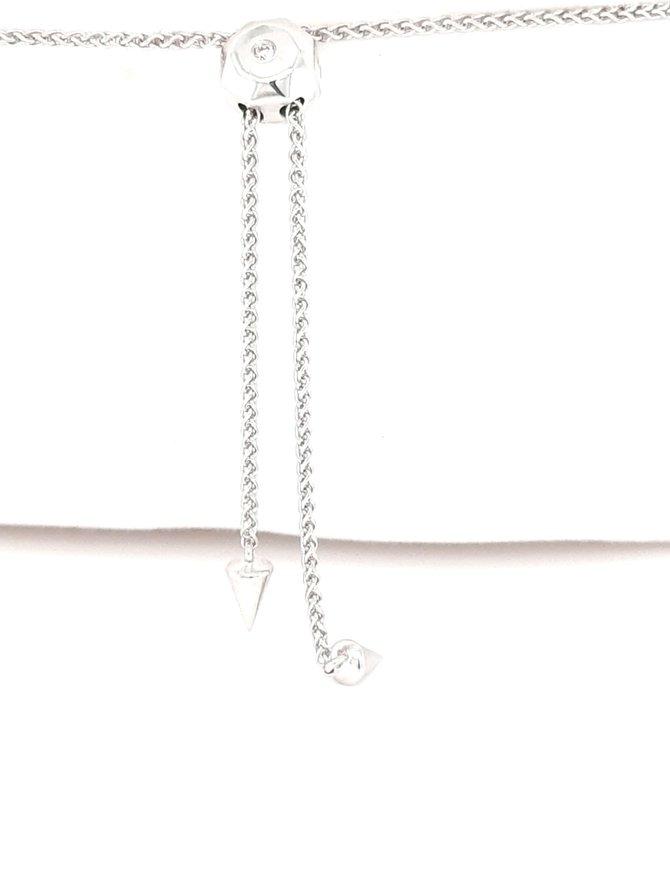 Diamond (0.45ctw) bezel set adjustable bracelet 14k white gold