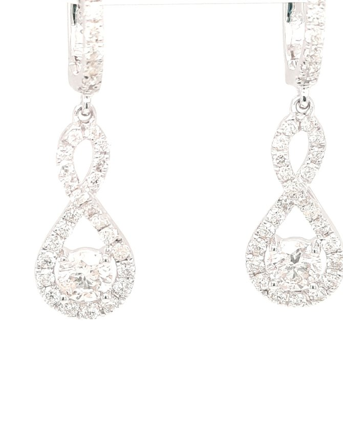 Diamond (1.37 ctw) infinity drop earrings 14k white gold