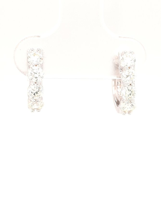 Diamond (0.74ctw) huggie hoop earrings 14k white gold