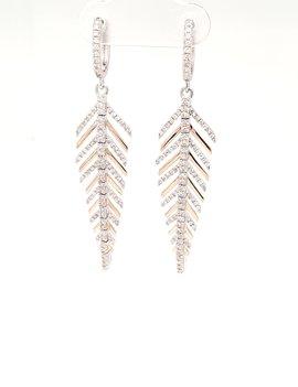 Diamond (0.84ctw) leaf design dangle earrings 14k white & yellow gold