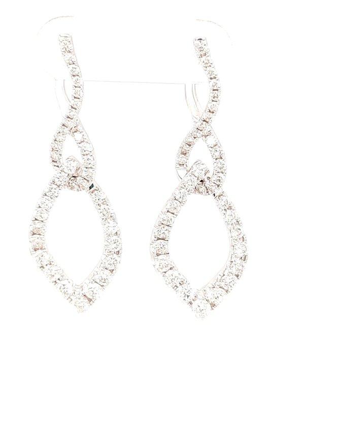 Diamond (1.82ctw) fancy dangle earrings 14k white gold