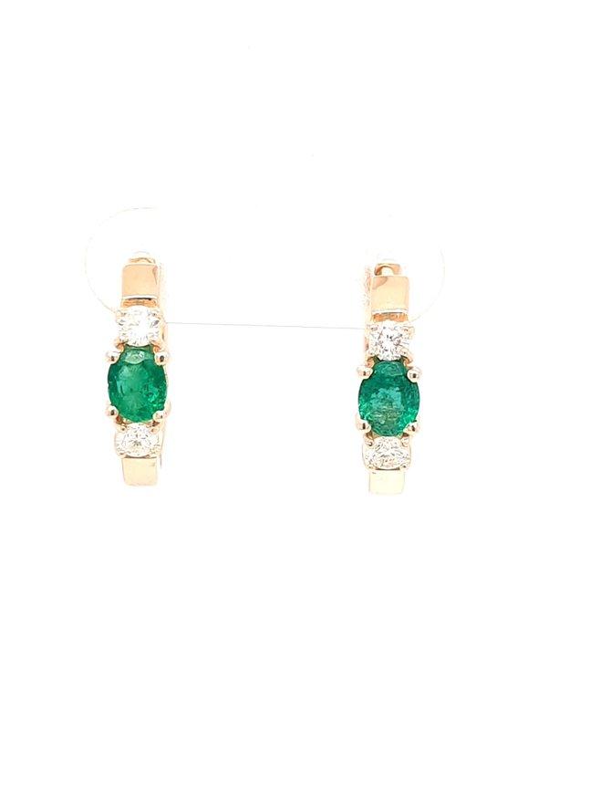 Emerald (0.65ctw) & diamond (0.32ctw)  hoop earrings 14k yellow gold