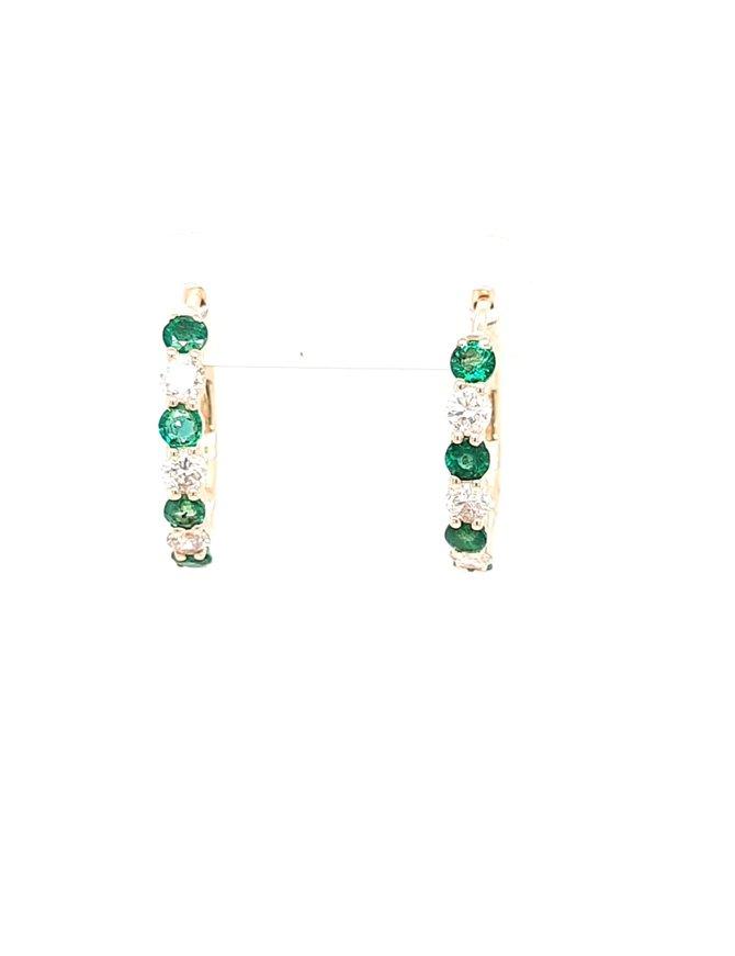 Emerald (0.52ctw) & diamond (0.41ctw) hoop earrings