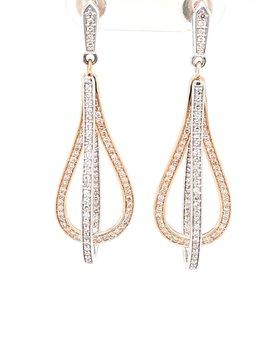 Diamond (1.13ctw) two tone dangle earrings 14k white & yellow gold