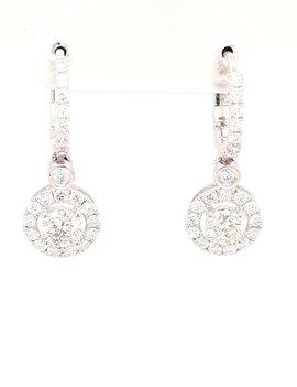 Diamond (1.19ctw) round halo dangle earrings 14k white gold