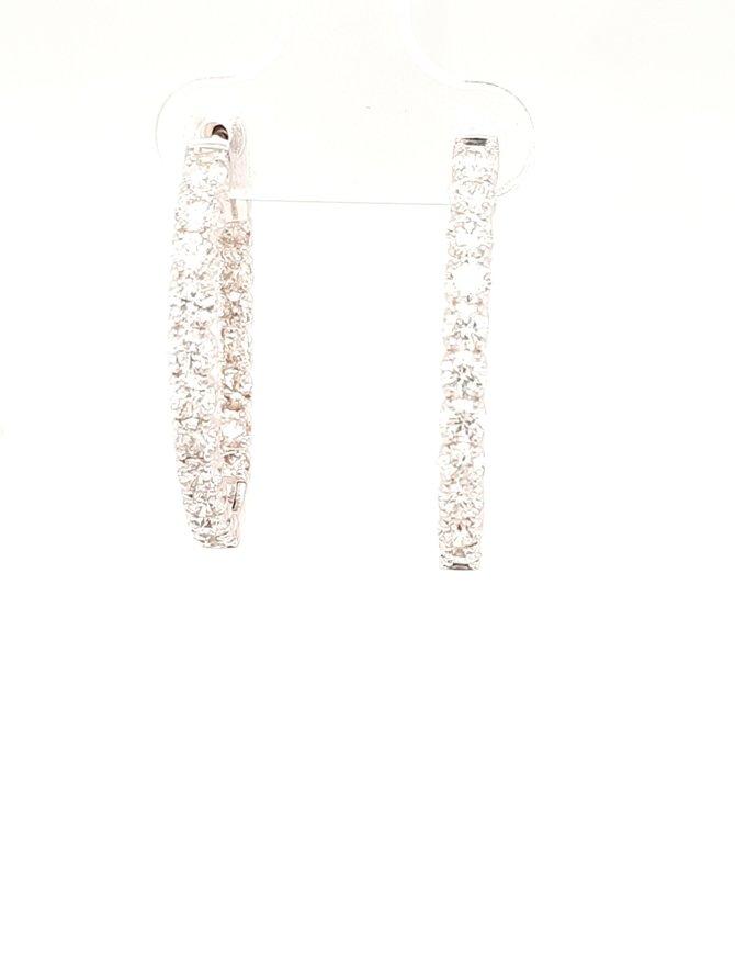 Diamond (1.97ctw) inside outside hoop earrings 14k white gold