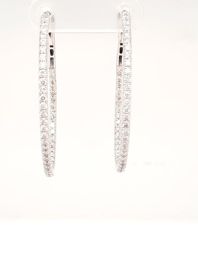 Diamond (1.33ctw) oval hoop earrings 14k white gold
