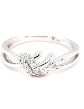 Diamond (1/10 ctw) cross over band, 14k white gold