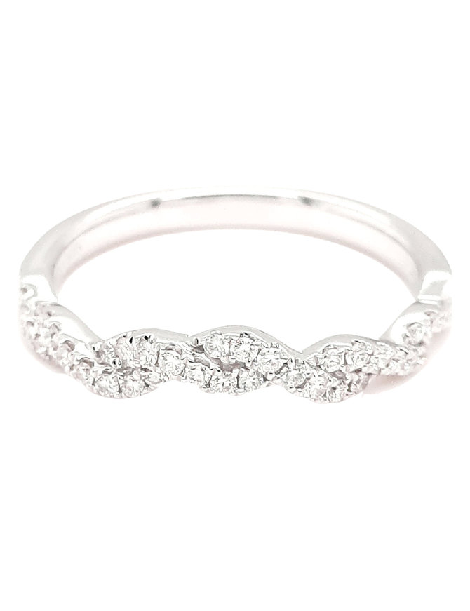 Diamond (0.22 ctw) braided band, 14k white gold