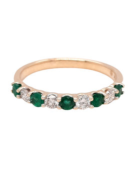Emerald (0.38ctw) diamond (0.27ctw) band ring 14k yellow gold