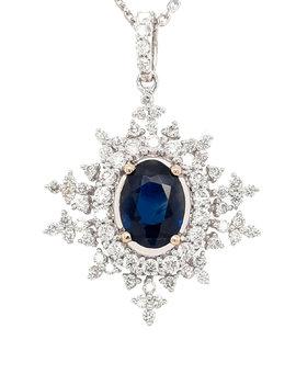 Sapphire (1.19ct) diamond(0.61ctw) starburst pendant 14k white gold