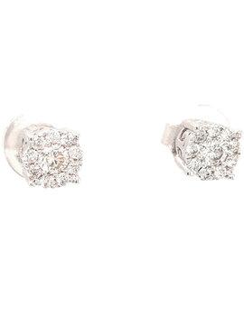 Diamond (0.46ctw) round cluster stud earrings 14k white gold