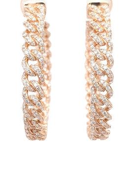 Diamond (2.59ctw) curb link hoop earrings 14k yellow gold