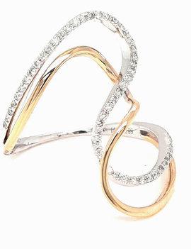 Diamond (0.22ctw) two tone wave fashion ring 14k white & yellow gold