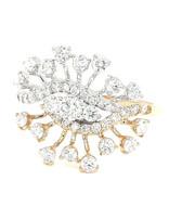 Diamond(0.97ctw) starburst ring 14k white/yellow gold