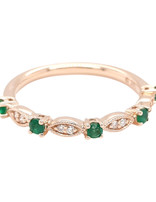 Emerald (0.20 ctw) & diamond (0..05 ctw) band, 14k yellow gold