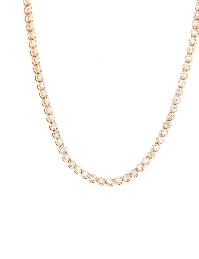 Diamond (2.93ctw) tennis necklace 14k yellow gold