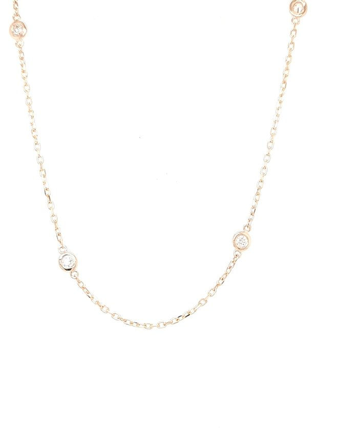 Diamond (0.39ctw) by yard necklace 14k yellow gold