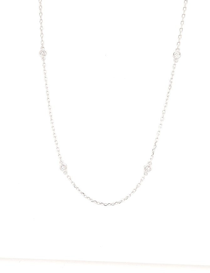 Diamond (0.30ctw) by yard necklace, 14k white gold