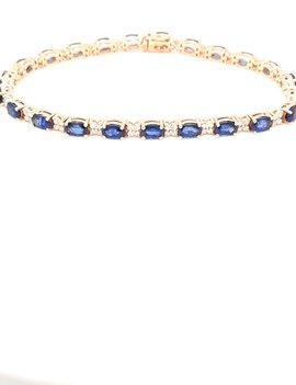 Sapphire (4.95ctw) & diamond (0.71ctw) tennis bracelet 14k yellow gold