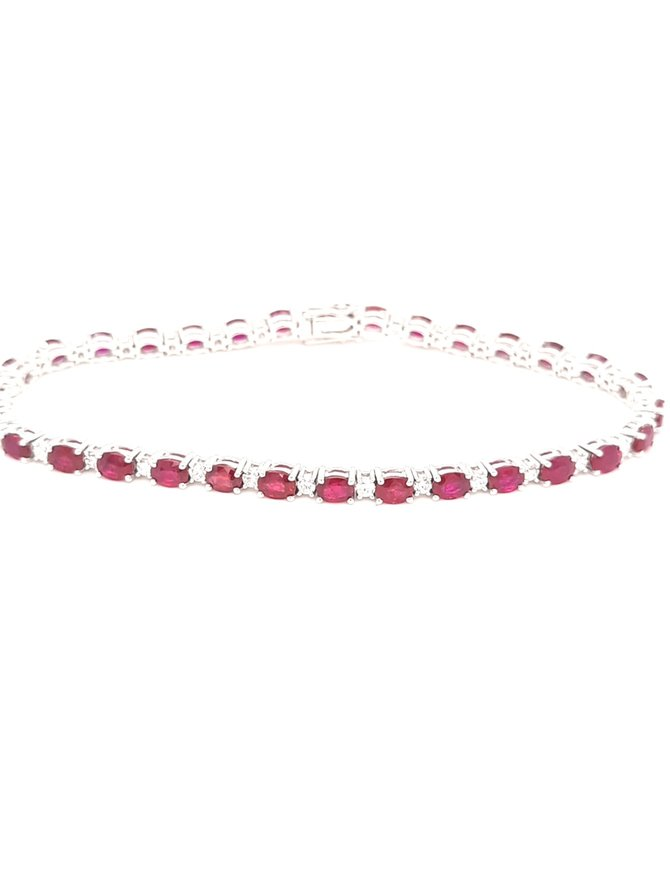 Ruby (7.02ctw) &  Diamond(0.89ctw) tennis bracelet 14k white gold
