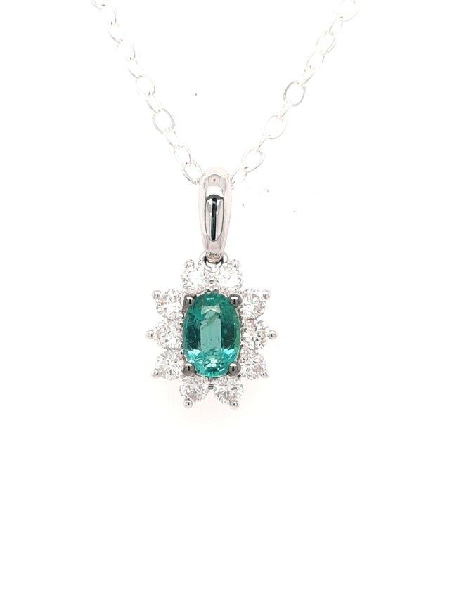 Emerald (0.35ct) & diamond(0.34ctw) oval halo pendant 14k white gold