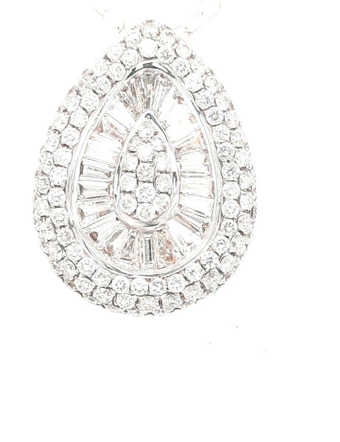 Diamond (1.58ctw) pear shape cluster slide pendant 14k white gold