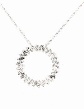 0.16ctw diamond baguette circle pendant 14k white gold