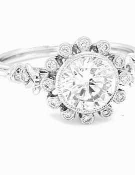 Diamond (0.10ctw) round halo bridal setting 14k white gold