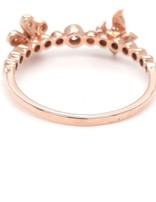 Diamond (0.21ctw) butterfly & flower ring, 14k rose gold