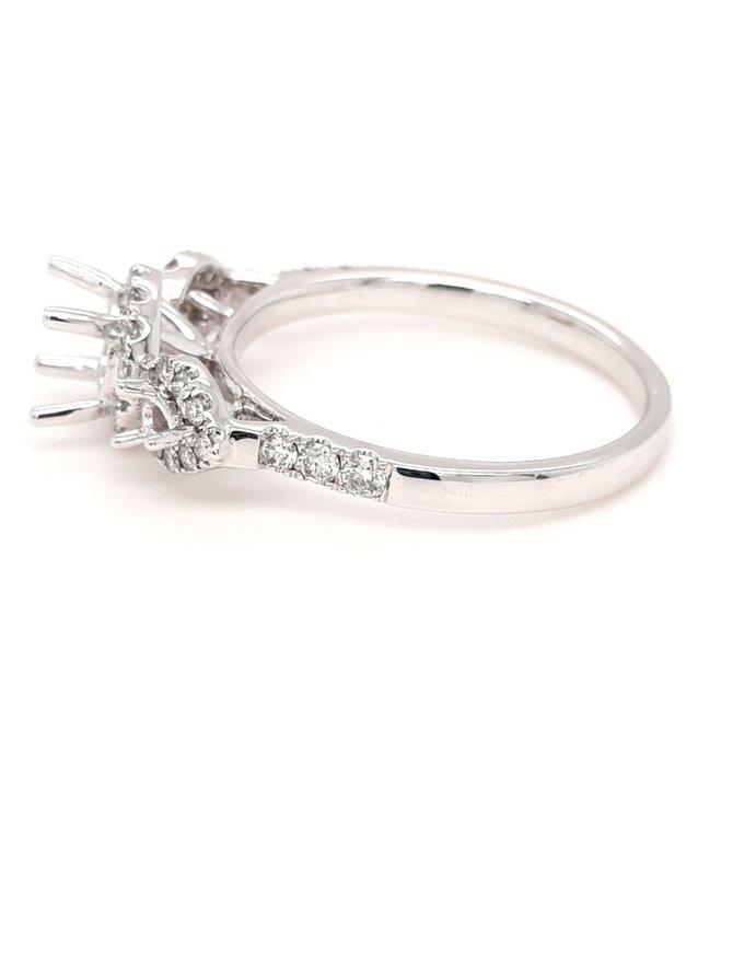 Diamond (0.34ctw) 3 stone bridal setting 14k white gold