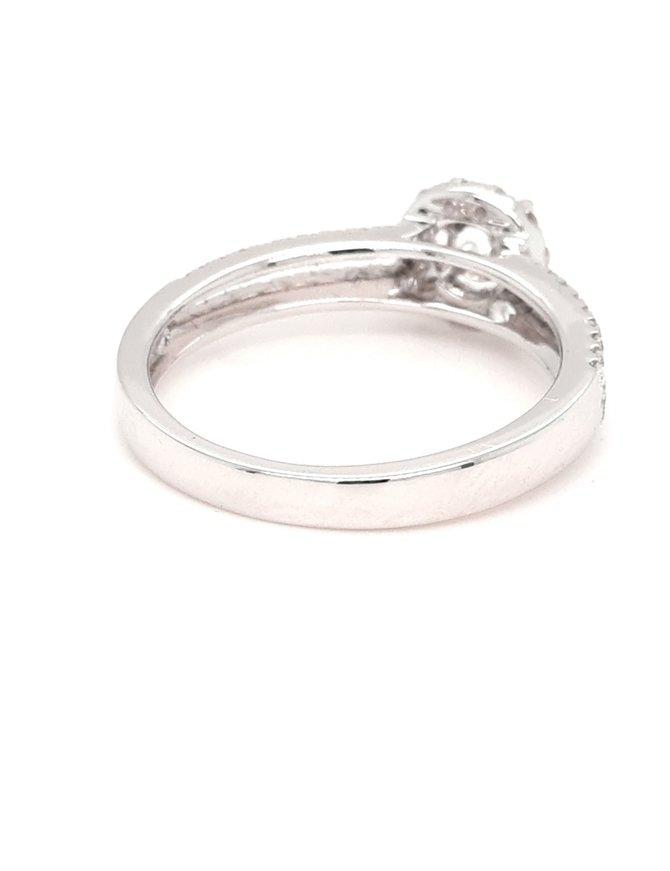Diamond (0.41ctw) split shank halo bridal setting 14k white gold