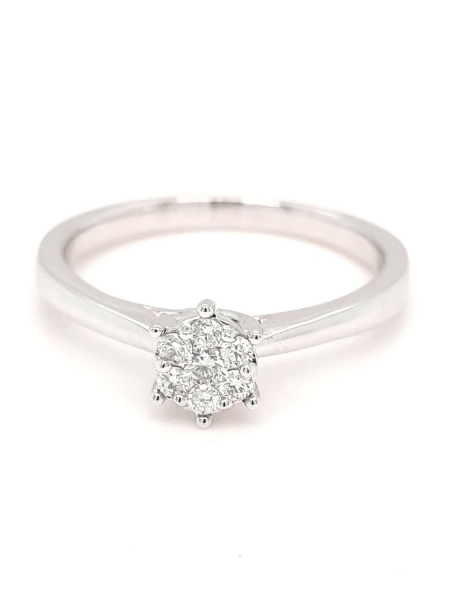 Diamond (0.15ctw) round cluster solitaire ring 14k white gold