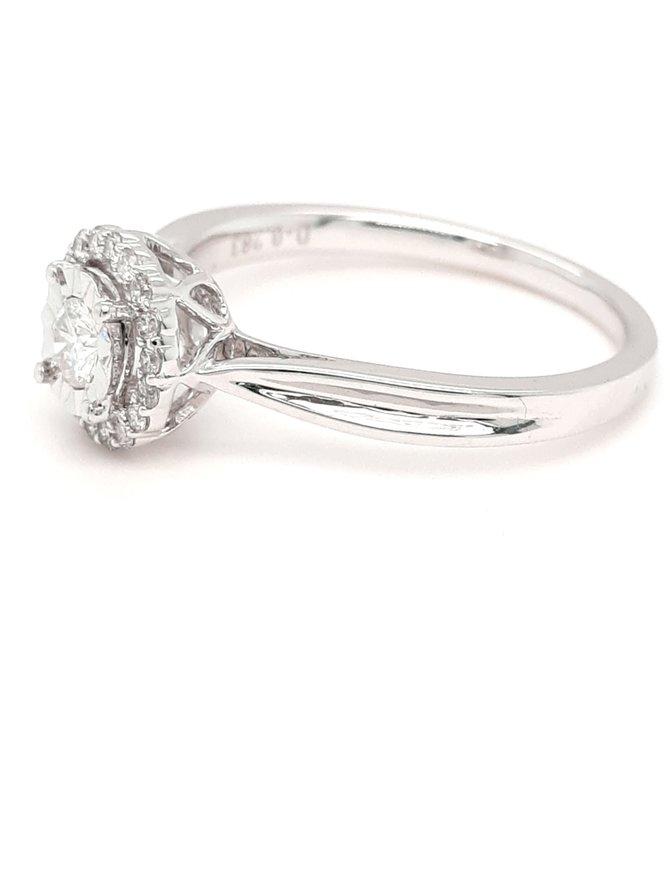 Diamond (0.28ctw) halo illusion ring 14k white gold