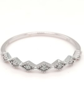 Diamond (0.07 ctw) stackable band ring, 14k white gold